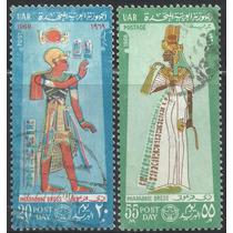 1968-69 Egipto Arqueología Trajes De Faraones Sellos Usados