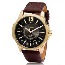 Relógio Curren 8123 Casual Quartz Analógico Dourado