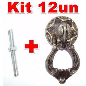 Puxador Colonial Bronze Para Móveis Antigos Luiz Xv Kit 12un