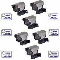 Kit 6 Câmeras Residencial Ou Comercial Falsa Com Led Bivolt