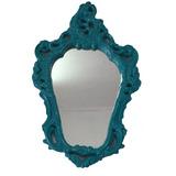 Moldura Com Espelho Provençal Em Gesso Azul 69x45cm