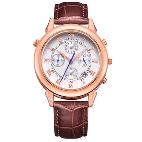 Relógio Masculino Quartzo Bracelete Couro + Banho Ouro 18k