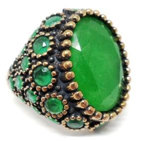 Qug-anel Turquia Turco Prata 925 Jade Tom Esmeralda
