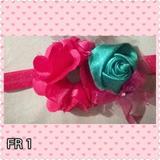 Bellos Lazos Cintillos Ganchos Para Niñas Bebes Flores Rosas