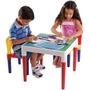 Mesa Infantil Escolar Plástico Com Duas Cadeiras Bell Toy