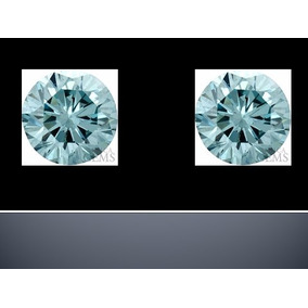 2 Diamantes Azul Agua 1. Mm 100% Naturales