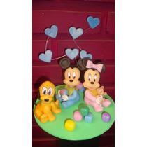 Adorno Para Torta Mickey, Minnie Y Pluto Bebes