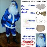 Roupa Fantasia De Papai Noel Cetim Azul - Kit Completo - U8