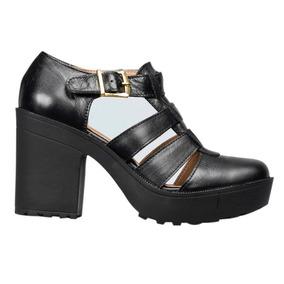 Calzado Dama Mujer Sandalias Tacon Plataforma Cuero Negro