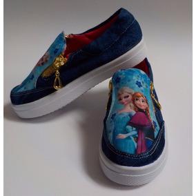 Zapatos Tipo Van En Tela Jean Azul Motivo Frozen