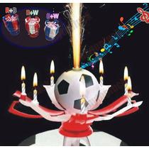 Vela Pastel Musical Giratoria Copa Balon Futbol Soccer