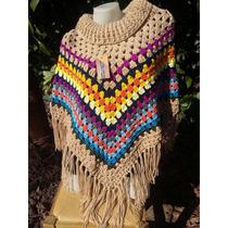 Poncho Al Crochet L Y Xl - Reynas Tejidos Artesanales