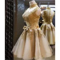 Vestido Noiva Dourado Casamento Princesa Tule Forrado Laço