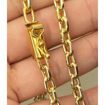 Cordão Masculino 6mm Banhado A Ouro 18k Com Fecho De Gaveta