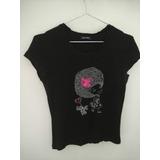 Camiseta Feminina Baby Look Preto (brechó) - 36/38