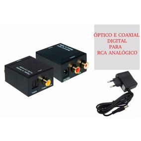 Adaptador Conversor Óptico Coaxial Digital Toslink Para Rca