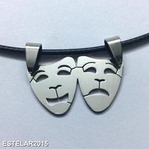 Pingente E Cordão Teatro Tragédia Comédia Máscara