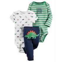 Conjunto 3 Peças Carter´s Dino Bebê Menino 18 Meses