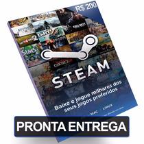 Cartão Steam R$200 Reais Pré-pago Card Pc Game Br