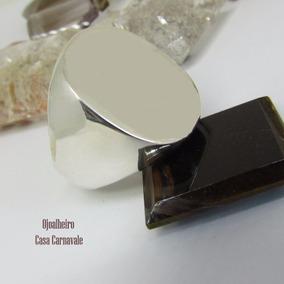Anel Masculino Prata 950k Maciça Chapa Oval Ojoalheiro