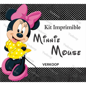 Kit Imprimible Minnie Mouse Invitaciones Fiesta Marcos