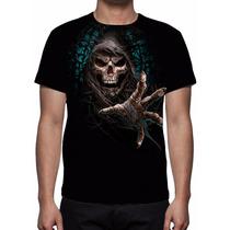 Camisa, Camiseta Caveira Grim Reaper Forest - Estampa Total