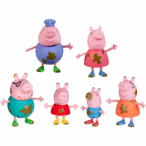 Peppa Pig Familia Mancha De Barro 6 Figuras