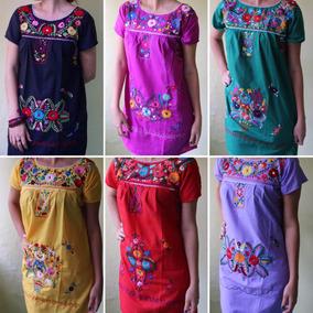 Lote 12 Vestidos Artesanales Con Flores Margaritas Bordadas