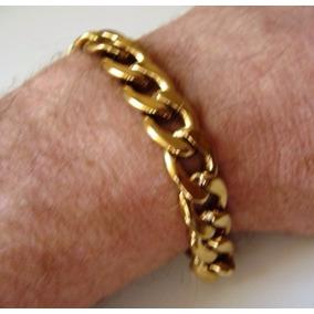 Pulseira Aco Masculina 12mm Dourada Grossa Aro Grumet
