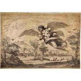Lienzo Tela Ángel De La Guarda Arte Sacro Grabado 80 X100 Cm