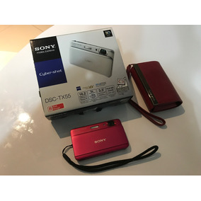 Câmera Sony Dsc-tx55, Pink, 16,2 Mpx, Tela Oled Touch + Case