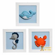 Trio Quadrinhos Decorados Bebê Infantil Praia Fundo Mar