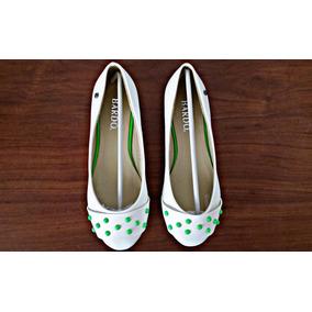 Zapatillas Bardo Blancas-verde Fashion Talla 36 Y 39 Nuevas