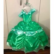 Vestido De Princesa Bella Esmeralda 3 Años, Exclusivo!!!