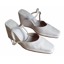 Zapatos Blancos Novia O Quinceañera En Cuero Taco Corrido