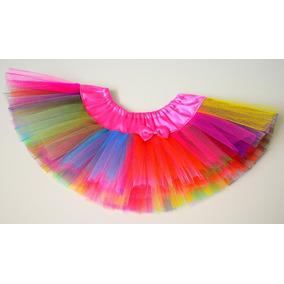 Tutu Nena Elastizado Raso Y Tul Con Moño Multicolor Payaso