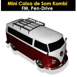 Mini Caixa Caixinha Som Portatil Kombi Usb Fm Sd