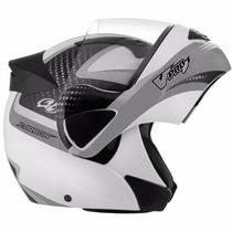 Capacete Moto Articulado V-pro Jet 2 Carbon Branco Cinza58