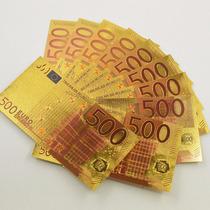 Cédula Foleada A Ouro 500 Euros Coleção Notas Moedas Euros