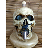 Pingometro Crânio Cerâmica Porta Vinho Cachaça Pinga Enfeite