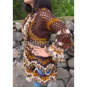 Cardigan Saco Tapado Tejido A Mano Crochet Artesanal