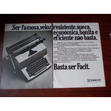 Propaganda Antiga - Facit Máquina De Escrever/ Celso Da Roch