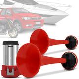 Buzina 2 Cornetas Automotiva A Ar Barulhenta Vermelha