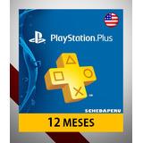 Playstation Plus Psn 1 Año 12 Meses Usa Ps4 Ps3 - Scheda