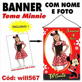 Banner Impresso Fotográfico Minnie Vermelha Disney Will567