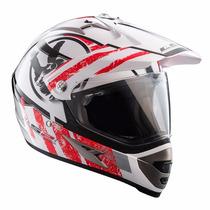 Casco Motocross Ls2 Mx433 Stripe White Red Visor Talle Xxl