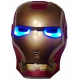 Máscara Homem Ferro Luz Led Fantasia Infantil Os Vingadores
