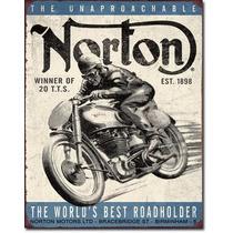 Anuncio Poster Moto Lamina Metalico Norton 0172