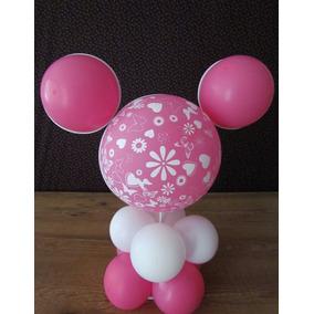 Suporte Arranjo De Mesa Rosto Da Minnie E Mickey 30 Peças