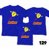 Lembrança De Aniversário Pipas Catavento Camiseta Kit Com 3